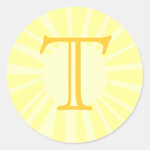 Su letra. Monograma amarillo de encargo del rayo Pegatina Redonda