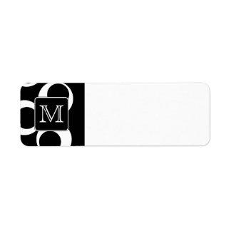 Su letra. Monograma blanco y negro. Modelo de la d Etiqueta De Remitente