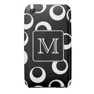 Su letra. Monograma blanco y negro. Modelo de la d Case-Mate iPhone 3 Funda