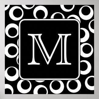 Su letra. Monograma blanco y negro. Modelo de la d Posters