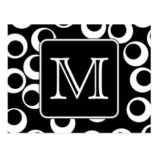 Su letra. Monograma blanco y negro. Modelo de la d Tarjetas Postales
