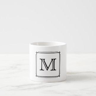 Su letra Monograma blanco y negro Taza Espresso