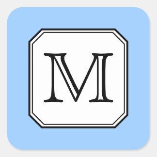 Su letra. Monograma de encargo. Blanco del negro Pegatina Cuadrada