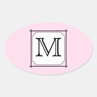 Su letra. Monograma de encargo. Blanco negro Pegatina Ovalada