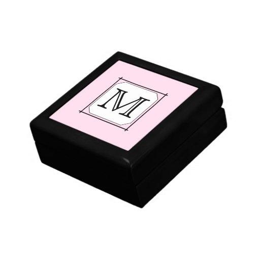 Su letra. Monograma de encargo. Blanco negro rosad Cajas De Regalo