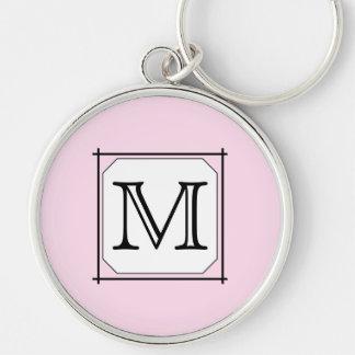 Su letra Monograma de encargo Blanco negro rosad Llavero