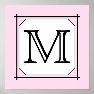 Su letra. Monograma de encargo. Blanco negro rosad Póster