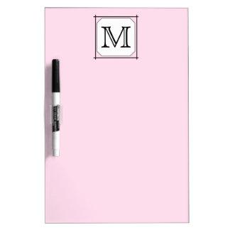 Su letra. Monograma de encargo. Blanco negro rosad Tablero Blanco