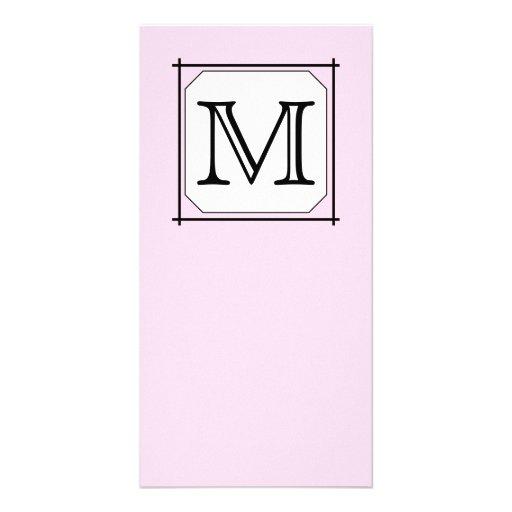 Su letra. Monograma de encargo. Blanco negro rosad Tarjetas Con Fotos Personalizadas