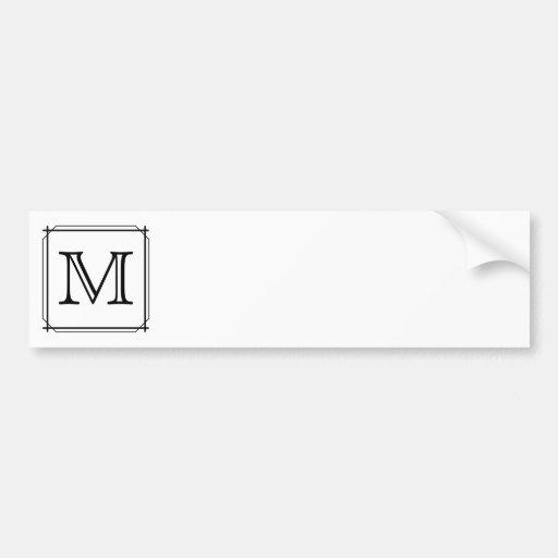 Su letra. Monograma de encargo. Blanco y negro Etiqueta De Parachoque