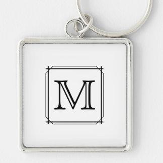 Su letra Monograma de encargo Blanco y negro Llaveros Personalizados