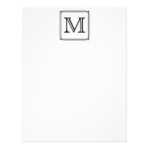 Su letra. Monograma de encargo. Blanco y negro Membretes Personalizados