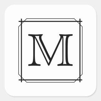 Su letra. Monograma de encargo. Blanco y negro Pegatina Cuadrada