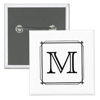 Su letra. Monograma de encargo. Blanco y negro Pins