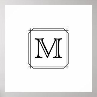 Su letra. Monograma de encargo. Blanco y negro Póster