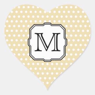 Su letra. Monograma de encargo. Punto de polca Pegatina En Forma De Corazón