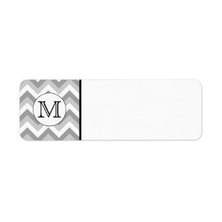 Su letra. Monograma gris del modelo de zigzag Etiqueta De Remitente