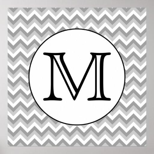 Su letra. Monograma gris del modelo de zigzag Posters