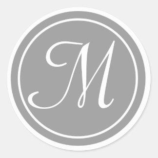 Su letra, monograma M, gris inicial Pegatina Redonda