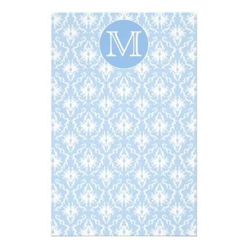"""Su letra, monograma. Modelo azul claro del damasco Folleto 5.5"""" X 8.5"""""""
