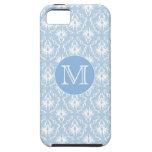 Su letra, monograma. Modelo azul claro del damasco iPhone 5 Case-Mate Cárcasa