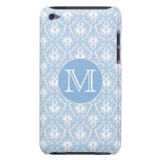 Su letra, monograma. Modelo azul claro del damasco iPod Case-Mate Funda
