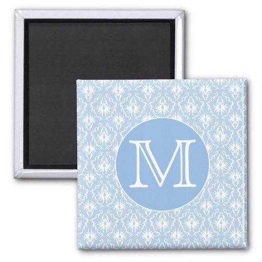 Su letra, monograma. Modelo azul claro del damasco Imán Cuadrado
