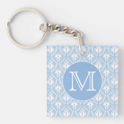 Su letra, monograma. Modelo azul claro del damasco Llaveros