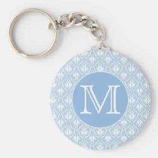 Su letra, monograma. Modelo azul claro del damasco Llavero Redondo Tipo Pin