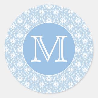 Su letra, monograma. Modelo azul claro del damasco Pegatina Redonda