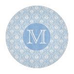 Su letra, monograma. Modelo azul claro del damasco Tablas De Cortar