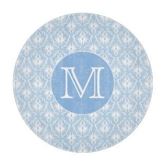 Su letra, monograma. Modelo azul claro del damasco Tablas Para Cortar
