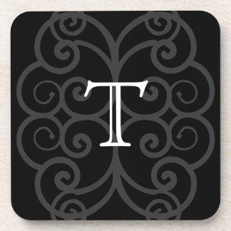 Su letra. Monograma negro/blanco del remolino. Per Posavasos De Bebida
