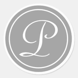 Su letra, monograma P, gris inicial Pegatina Redonda