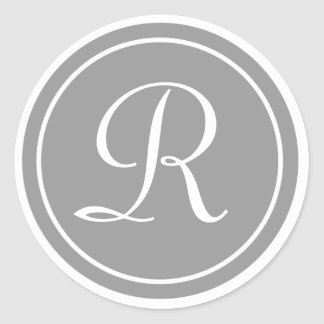 Su letra monograma R gris inicial Pegatinas Redondas