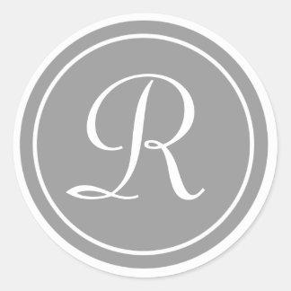 Su letra, monograma R, gris inicial Pegatina Redonda