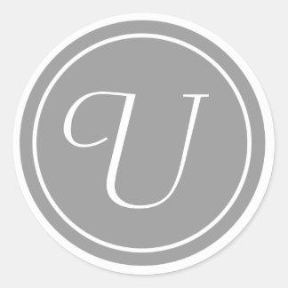 Su letra, monograma U, gris inicial Pegatina Redonda