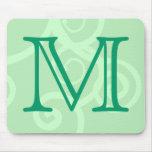 Su letra. Monograma verde de encargo del remolino Alfombrilla De Raton