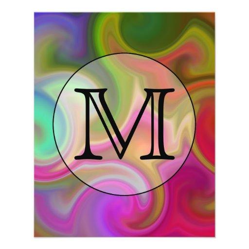 Su letra, remolinos coloridos y monograma de encar flyer personalizado