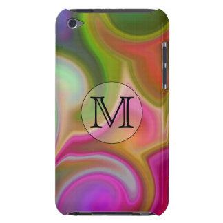 Su letra remolinos coloridos y monograma de encar iPod touch protector