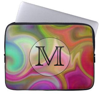 Su letra remolinos coloridos y monograma de encar funda portátil