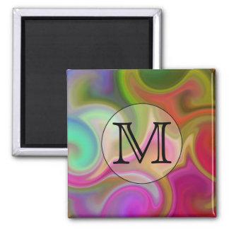 Su letra, remolinos coloridos y monograma de encar imán de frigorifico