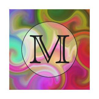 Su letra, remolinos coloridos y monograma de encar impresión de lienzo