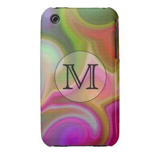 Su letra, remolinos coloridos y monograma de iPhone 3 Case-Mate protector