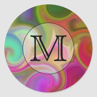 Su letra, remolinos coloridos y monograma de pegatina redonda
