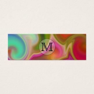 Su letra, remolinos coloridos y monograma de tarjeta de visita pequeña