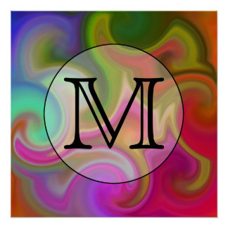 Su letra, remolinos coloridos y monograma de