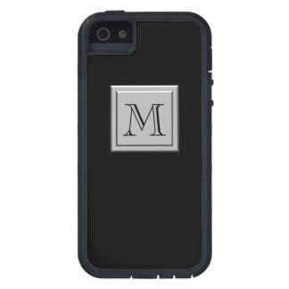 Su letra Su monograma Negro de plata iPhone 5 Protector