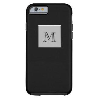 Su letra su negro de la plata del monograma funda de iPhone 6 tough