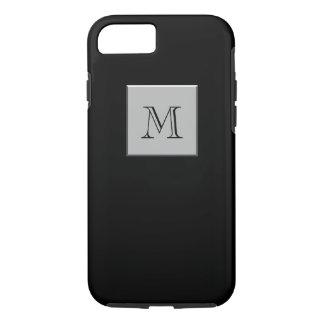 Su letra su negro de la plata del monograma funda iPhone 7